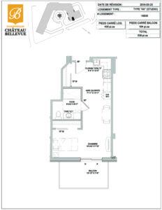 Château Bellevue Shawinigan – résidence pour aînés – plan studio KK
