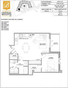 Château Bellevue Shawinigan – résidence pour aînés – plan logement 3½ D