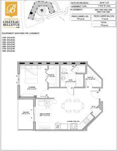 Château Bellevue Shawinigan – résidence pour aînés – plan logement 3½ E