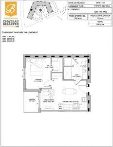 Château Bellevue Shawinigan – résidence pour aînés – plan logement 3½ G INV