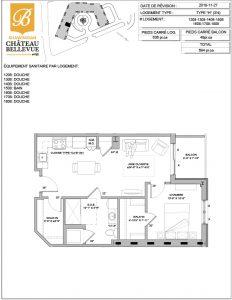Château Bellevue Shawinigan – résidence pour aînés – plan logement 3½ H