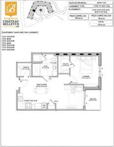 Château Bellevue Shawinigan – résidence pour aînés – plan logement 3½ H1 INV