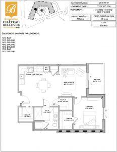 Château Bellevue Shawinigan – résidence pour aînés – plan logement 3½ H2