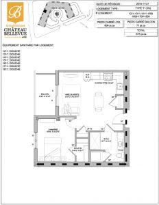 Château Bellevue Shawinigan – résidence pour aînés – plan logement 3½ I