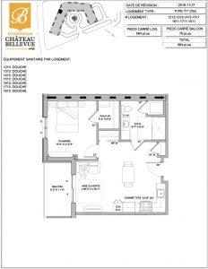 Château Bellevue Shawinigan – résidence pour aînés – plan logement 3½ I1