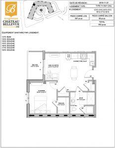 Château Bellevue Shawinigan – résidence pour aînés – plan logement 3½ I1 INV