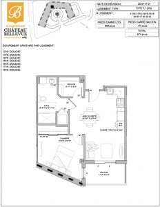 Château Bellevue Shawinigan – résidence pour aînés – plan logement 3½ L