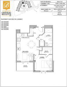 Château Bellevue Shawinigan – résidence pour aînés – plan logement 3½ L1 INV