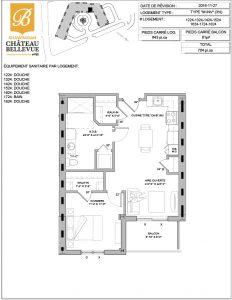 Château Bellevue Shawinigan – résidence pour aînés – plan logement 3½ M INV
