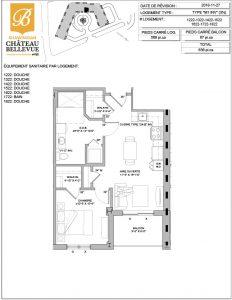 Château Bellevue Shawinigan – résidence pour aînés – plan logement 3½ M1 INV
