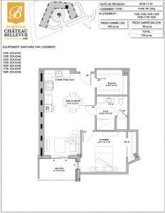 Château Bellevue Shawinigan – résidence pour aînés – plan logement 3½ R