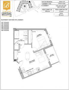 Château Bellevue Shawinigan – résidence pour aînés – plan logement 3½ S