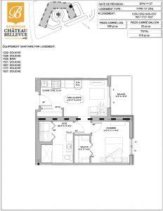 Château Bellevue Shawinigan – résidence pour aînés – plan logement 3½ U