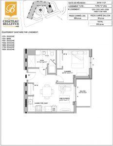 Château Bellevue Shawinigan – résidence pour aînés – plan logement 3½ V
