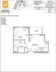 Château Bellevue Shawinigan – résidence pour aînés – plan logement 4½ AA