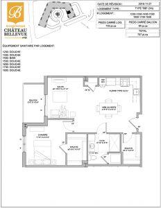 Château Bellevue Shawinigan – résidence pour aînés – plan logement 4½ BB