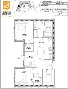 Château Bellevue Shawinigan – résidence pour aînés – plan logement 4½ LL