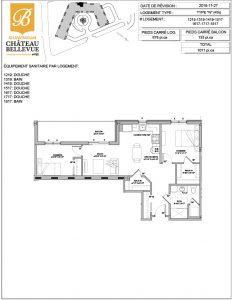 Château Bellevue Shawinigan – résidence pour aînés – plan logement 4½ N
