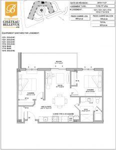 Château Bellevue Shawinigan – résidence pour aînés – plan logement 4½ P