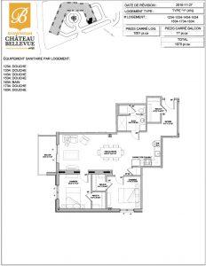 Château Bellevue Shawinigan – résidence pour aînés – plan logement 4½ Y