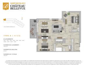 Château Bellevue Saint-Nicolas 2 – résidence pour aînés – plan logement 4½ A