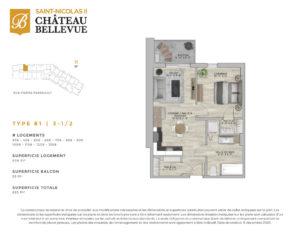 Château Bellevue Saint-Nicolas 2 – résidence pour aînés – plan logement 3½ B1