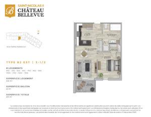 Château Bellevue Saint-Nicolas 2 – résidence pour aînés – plan logement 3½ B2 Est