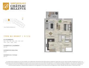 Château Bellevue Saint-Nicolas 2 – résidence pour aînés – plan logement 3½ B2 Ouest