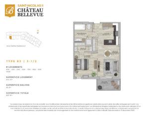 Château Bellevue Saint-Nicolas 2 – résidence pour aînés – plan logement 3½ B3
