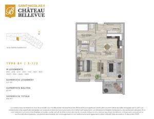 Château Bellevue Saint-Nicolas 2 – résidence pour aînés – plan logement 3½ B4