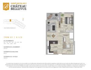Château Bellevue Saint-Nicolas 2 – résidence pour aînés – plan logement 3½ C1