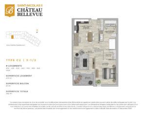 Château Bellevue Saint-Nicolas 2 – résidence pour aînés – plan logement 3½ C2