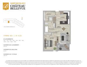 Château Bellevue Saint-Nicolas 2 – résidence pour aînés – plan logement 3½ C3
