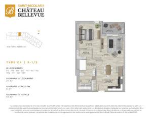 Château Bellevue Saint-Nicolas 2 – résidence pour aînés – plan logement 3½ C4