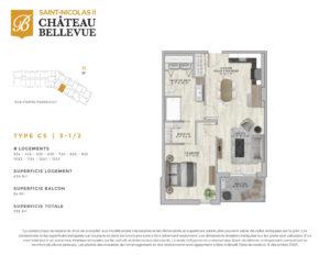 Château Bellevue Saint-Nicolas 2 – résidence pour aînés – plan logement 3½ C5