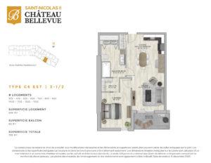 Château Bellevue Saint-Nicolas 2 – résidence pour aînés – plan logement 3½ C6 Est