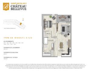 Château Bellevue Saint-Nicolas 2 – résidence pour aînés – plan logement 3½ C6