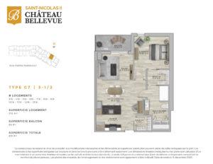 Château Bellevue Saint-Nicolas 2 – résidence pour aînés – plan logement 3½ C7