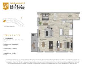 Château Bellevue Saint-Nicolas 2 – résidence pour aînés – plan logement 4½ D