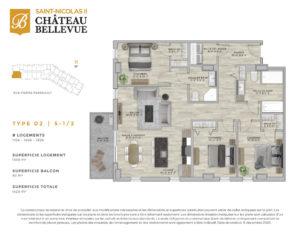 Château Bellevue Saint-Nicolas 2 – résidence pour aînés – plan logement 5½ D2