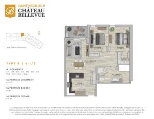 Château Bellevue Saint-Nicolas 2 – résidence pour aînés – plan logement 4½ E