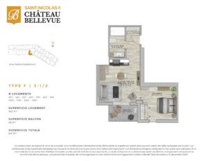Château Bellevue Saint-Nicolas 2 – résidence pour aînés – plan logement 3½ F