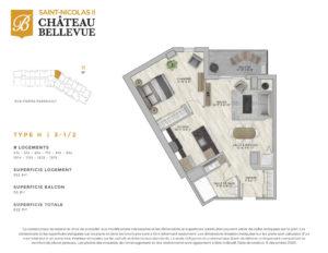Château Bellevue Saint-Nicolas 2 – résidence pour aînés – plan logement 3½ H
