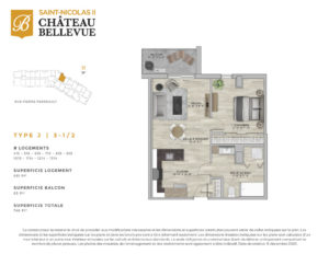 Château Bellevue Saint-Nicolas 2 – résidence pour aînés – plan logement 3½ J