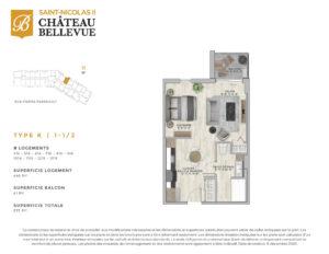 Château Bellevue Saint-Nicolas 2 – résidence pour aînés – plan logement 1½ K
