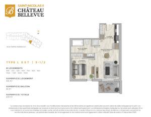 Château Bellevue Saint-Nicolas 2 – résidence pour aînés – plan logement 3½ L Est