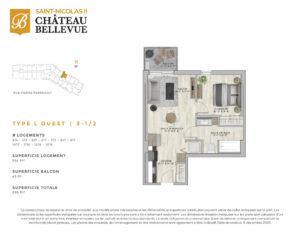 Château Bellevue Saint-Nicolas 2 – résidence pour aînés – plan logement 3½ L Ouest