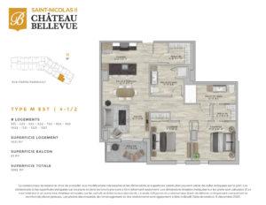 Château Bellevue Saint-Nicolas 2 – résidence pour aînés – plan logement 4½ M Est