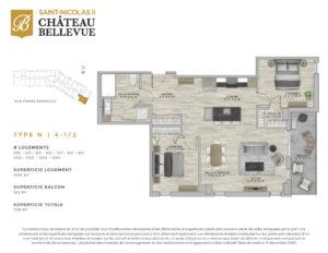 Château Bellevue Saint-Nicolas 2 – résidence pour aînés – plan logement 4½ N