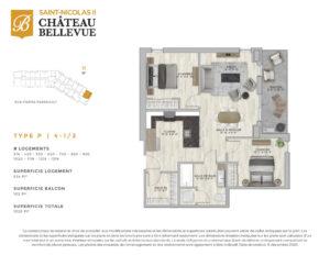 Château Bellevue Saint-Nicolas 2 – résidence pour aînés – plan logement 4½ P